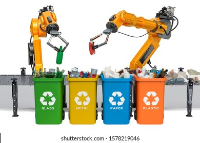 Robotic arms sorting garbage, automatic sorting of trash. 3D rendering isolated on white background