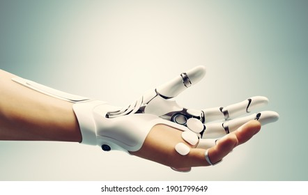 Robotic bionic hand connected with human hand. Modern technology, prosthesis medicine. 3D illustration