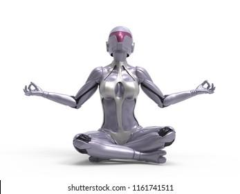 Robotic Cyber Woman is meditating 3D Rendering