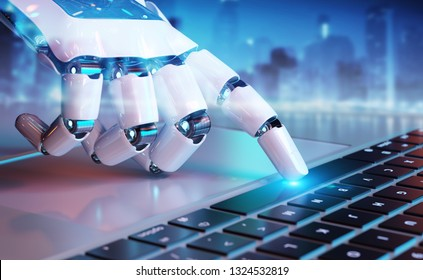 Robotic cyborg hand pressing a keyboard on a laptop 3D rendering