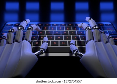 Robotic cyborg hand using computer. Hands of robot typing on keyboard. 3d render realistic illustration.
