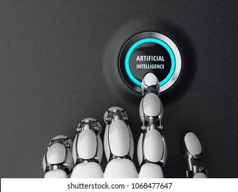 Robotic finger pressing a artificial intelligence start button. Futuristic concept. 3D illustration.