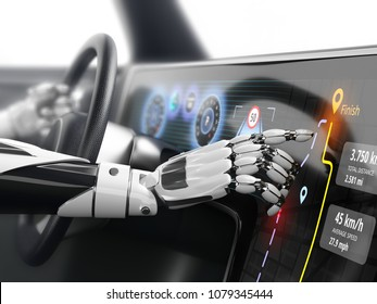 Robotic finger touching to car 's display screen with GPS navigation mode in autonomous vehicle. 3D illustration.