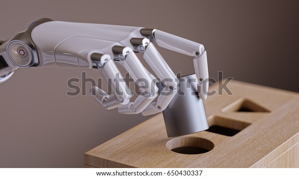 Robotic Hand with Cylinder and Shape Sorting Toy Closeup. Machine Learning and Recognition Concept 3d Illustration