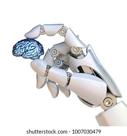 Robotic hand holding human brain, artificial intelligence concept, bionic brain 3d rendering