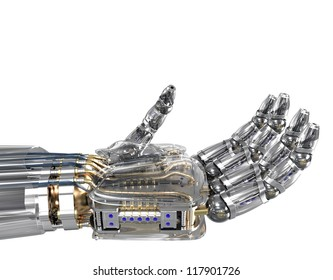 Robotic hand holding imaginary object.