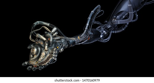 Robotic hand holding wired artificial heart, 3d rendering on black background