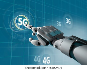 A robotic hand pick on a symbol of 5G on Sci-fi interface with HUD elements. Futuristic concept of wireless communication. 3d illustration.