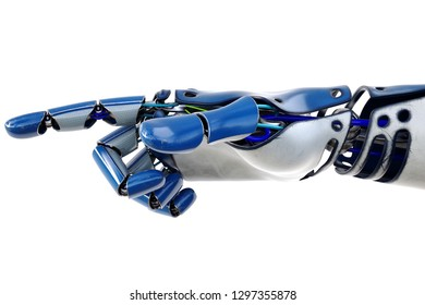 Robotic hand pointing isolated on white background. 3d rendering.