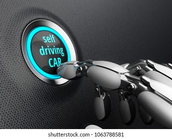 Robotic hand, presses the start button of the self driving car. 3D illustration.