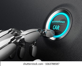 Robotic hand, presses the start button of the autonomous car. 3D illustration.