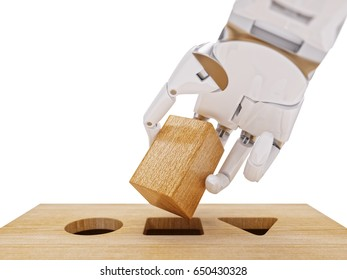 Robotic Hand and Shape Sorting Toy Closeup. Machine Learning and Recognition Concept 3d Illustration