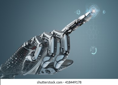 Robotic hand touching virtual user interface with point index finger. Image futuristic template on digital background for business website design.3d rendered image.