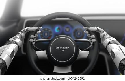 Robotic hands on steering wheel while driving autonomous car. 3D illustration.