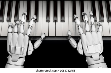 Robotic hands playing the piano, top view. Technology of self-learning neural networks. 3D illustration.