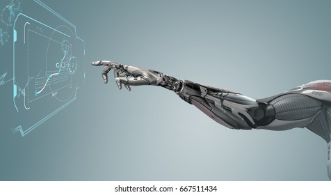 A robotic mechanical arm looks as like a human hand touching a touchscreen. Cybernetic organism with Artificial Intelligence working with Infographic background. Futuristic design concept 3d rendering