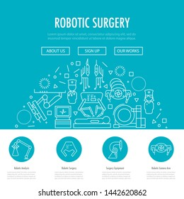 Robotic surgery landing page template in linear style. Robotic assisted surgery future linear template design on blue.  illustration