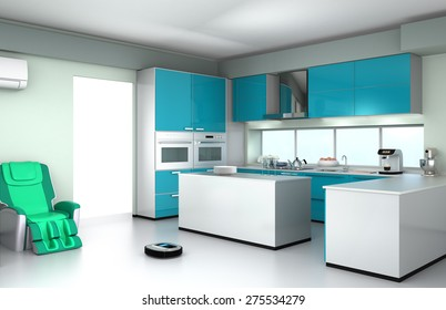 Robotic vacuum cleaner in a modern kitchen interior. 3D rendering image.
