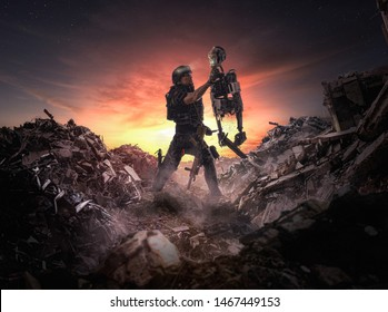 Roboter-Krieg ( Männer gegen Maschinen ) - Illustration einer Apokalyptik - Illustration 3d