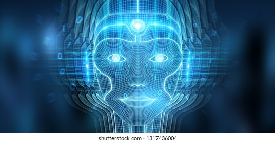 Robotic woman cyborg face representing artificial intelligence concept 3D rendering