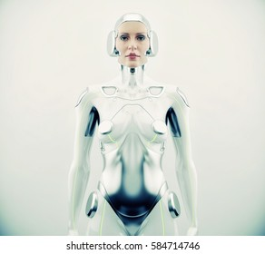Robotic woman with real face. Futuristic silver robotic woman in front angle, 3d rendering