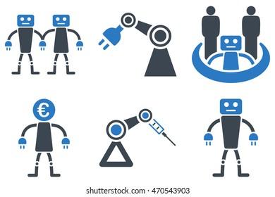 Robotics Vector Icons Pictogram Style Bicolor Stock Vector Royalty