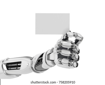 Robotics hand hold blank business card. Futuristic technology concept. 3d illustration isolated on white background.
