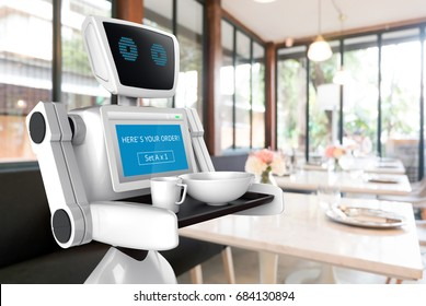 Robotics Trends technology business concept. Autonomous personal assistant personal robot for serve foods in restaurant blur background. 3D rendering
