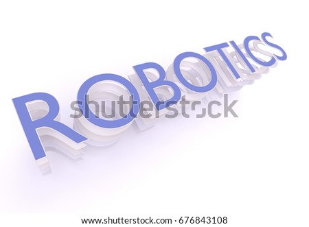 Robotics Word Blue Letters On White Stock Illustration 676843108