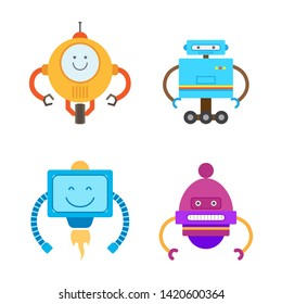 Robots collection types set with robotic creatures antenna and hands wheels emotions raster illustration isolated on white background
