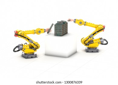Robots creating a building isolated on white background 3d illustration