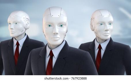 Robots dressed in a business suit. 3D illustration
