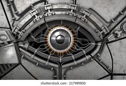 Robot's eye. Fantasy high technology 3d illustration