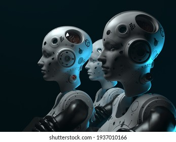 robots of the future. portrait of terekh robots women . abstraction on the topic of technology and games. 3d illustration
