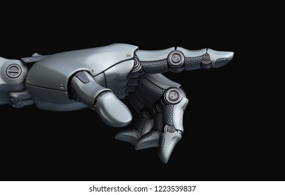 Robot's hand is pointing. 3D illustration
