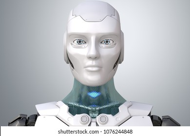 Robot's head in face. 3D illustration