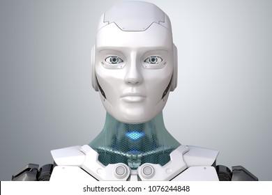 Robot's head in face. 3D illustration