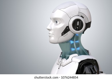 Robot's head in profile. 3D illustration