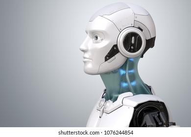 Robot's head in profile. 3D illustration