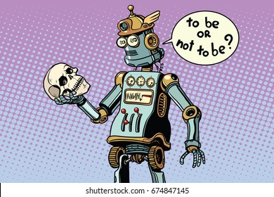 robots and humanity, a scene from hamlet. Pop art retro  illustration