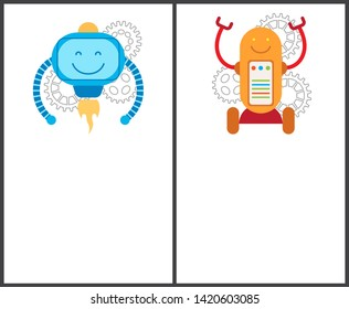 Robots with turbine and on wheels promo posters set. mechanical that worcs petrolium electricity cartoon illustrations