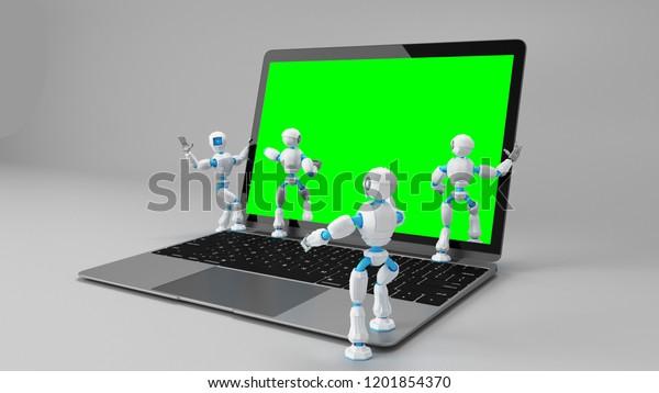 Robots walking into the laptop screen. 3d illustration.