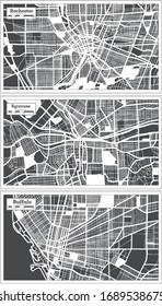 Rochester, Buffalo and Syracuse USA City Maps in Retro Style. Outline Maps. Illustration.