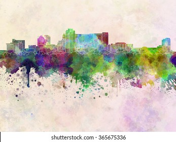 Rochester MN skyline in watercolor background