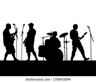 Rock band musicians on stage. Isolated silhouettes on a white background