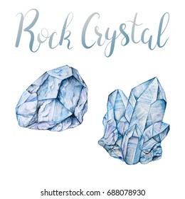 Rock crystal mineral cluster and faceted raw crystal isolated on white background. April birthstone with lettering. Hand painted watercolor illustration of gems