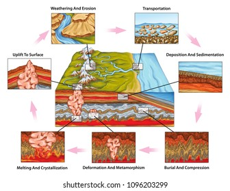 The rock cycle, the time-consuming transitions through geologic time, plate tectonics and the water cycle, rock changes in new environments, geography, geophysics, geochemistry, geomorphology, geology