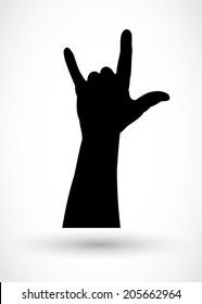 Rock gesture, hand silhouette