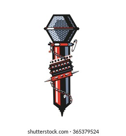 Rock Microphone. Microphone with studded bracelets, metal chain and other rock jewelry.