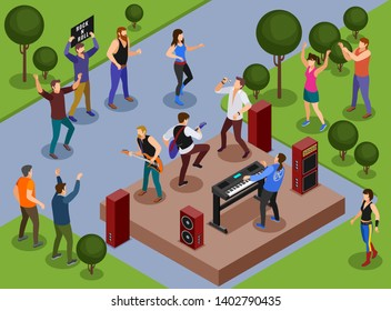 Rock musicians Rock Concert in the park illustration isometric icons on isolated background